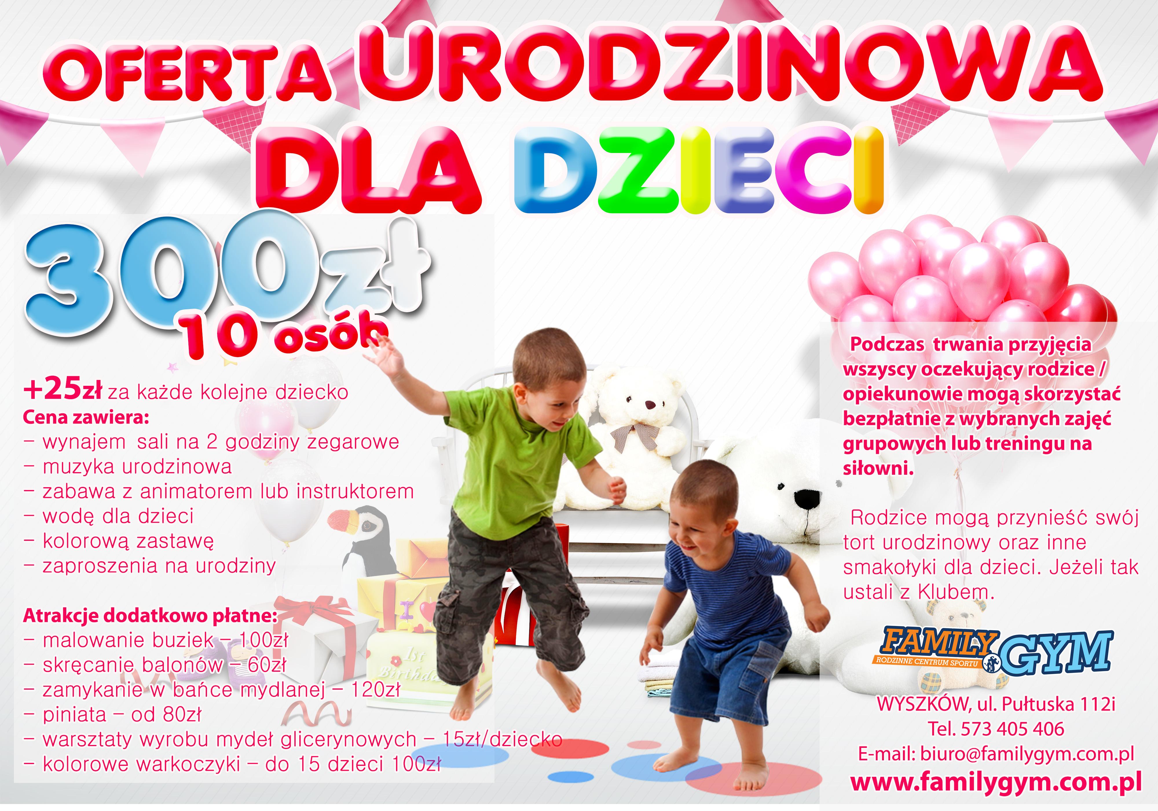 oferta urodzinowa dla dzieci